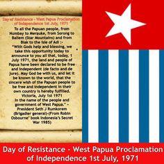 01° juillet 1971 déclaration d'indépendance de la Papouasie Occidentale #WP4MSG #PapuaNinalikAriyak West Papua, Twitter, Day, Free