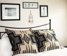 Large Diamond pattern pillow cover made with genuine Pendleton wool, 24 x 24 inches, Navajo, Southwestern Design, Black Beige Cream