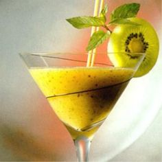 If you're not a liquor drinker you can still enjoy a wine cocktail:  kiwi fruit  tropical juice  sweet basil  white wine