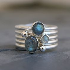 Labradorite Stacking Rings, Sterling Silver, Set of 5, Gemstone Stack, Silver Pebbles, Silver Drops, Oval & Round Cabochons, Stack of Five