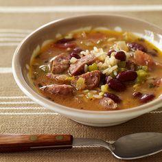WeightWatchers.fr : recette Weight Watchers - Soupe aux haricots rouges, saucisse et riz