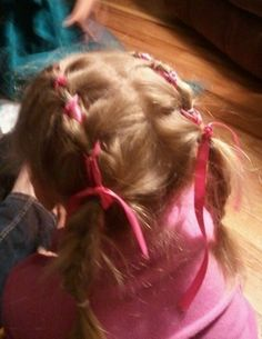 tied ribbon pig tails Pig Tails, Updos, Ears, Cheer, Hair Makeup, Braids, Ribbon, Hair Styles, Beauty