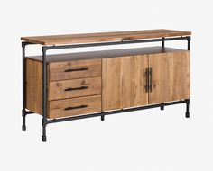 63 in wide  Scandinavian Designs - Complete your rustic industrial dining room decor with the Karsten sideboard. Rugged powder-coated metal is welded into an interlocking frame with clean lines and supports the solid American poplar top, ideal for buffet-style dining or decorative displays. The separate base unit below boasts three large drawers and a double door cabinet with an adjustable shelf, perfect for storing away extra place settings, silverware or linens.