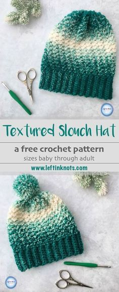 Crochet Snowball Slouch Hat - Free One Skein Pattern b7221ba2b88