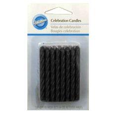 The Great American Cake - Wilton Black Candles - Wilton Velas Pretas. Para quem quer aquele toque de elegância, estas velas de bolo pretas são perfeitas para qualquer ocasião.  Conjunto de 24 velas pretas com 6 cm de altura.