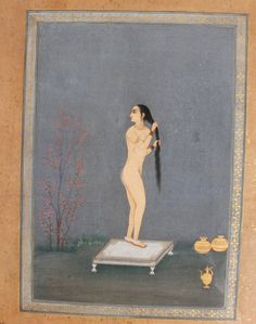 Lady at Her Toilette - Miniature Painting, India