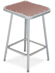 National Public Seating 6324H  Grey Steel Stool with Square Hardboard Seat Adjustable and Backrest, 25