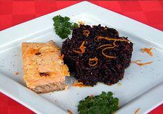 Riso Venere con salmone al profumo di arancia, ricetta con il pesce