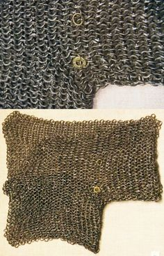 European riveted mail gusset / voider, with brass makers mark, to century, Philadelphia Museum of Art. Historical Costume, Historical Clothing, Philadelphia Museum Of Art, Medieval Armor, Body Armor, Chain Mail, Panzer, 15th Century, Makers Mark