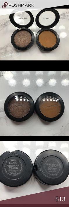 (2) MAC Eyeshadow Bundle! Deeply Dashing Pressed Pigment & Uninterrupted Eyeshadow - used a few times - authentic MAC Cosmetics Makeup Eyeshadow
