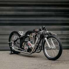 Zeus: A vintage BSA/JAP drag bike restored by Kevin Busch. Retro Motorcycle, Bobber Motorcycle, Motorcycle Garage, Racing Motorcycles, Bike Pic, Drag Bike, Ducati Cafe Racer, Cafe Racers, Vintage Cafe Racer