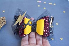 Harry Potter inspired hair clip bow Harry Potter glitter bow | Etsy