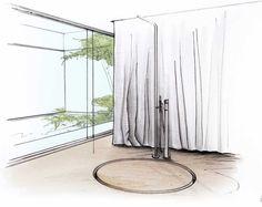 begehbare runde Dusche ohne Tür