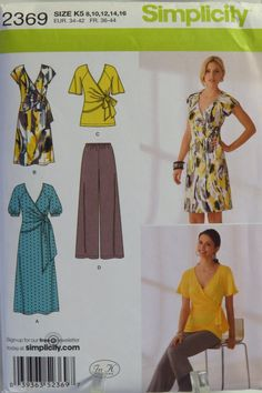 Simplicity 2369 Misses' Knit Dress in Two Lengths or Tunic and Pants