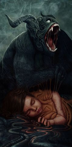 Bauk- Serbian myth: an animal-like creature that hides in dark places, holes, or abandoned houses just waiting to grab and eat a human victim. They can be scared away by light and noise. It is thought that these were based on bears, as they were already regionally extinct in some parts of Serbia and only known through legend.