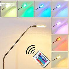 LED Stehleuchte Fansen aus Metall Chrom Nickel matt mit Farbwechsler und Fernbedienung - Bodenleuchte für Schlafzimmer - Wohnzimmer - Büro - Leuchte ist individuell verstellbar