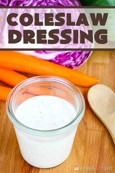 Creamy coleslaw dressing a classic, from-scratch recipe that can be made with ingredients you already have! Never buy store-bought coleslaw dressing again!
