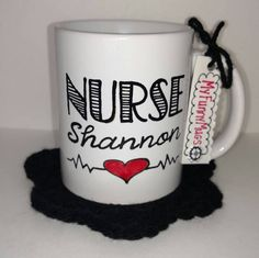 Nurse (Custom Name) Hand Painted 11 oz Ceramic Mug Free Customization by MyFunnyMugs on Etsy