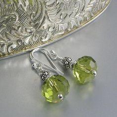 green peridot bali bead earrings