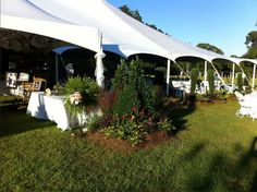 Outside Tent Decor at Tent Reception - SquiresFarmWeddings