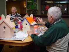 art time for the elderly making bird houses