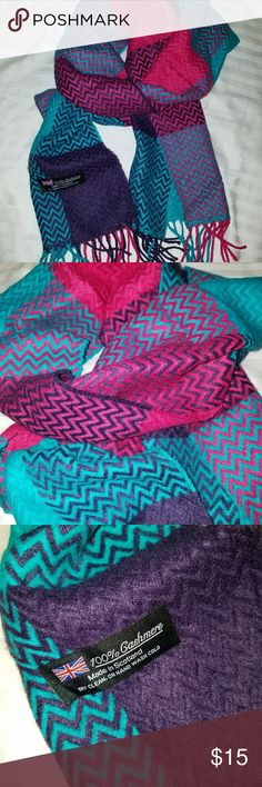 Cashmere scarf Cashmere scarf Fringe detail never worn teal purple and pink Accessories Scarves & Wraps