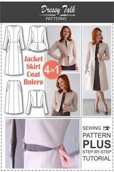 Nähen-Muster - Muster Mantel - Jacke Muster - Bolero - Rock Muster - Blazer Muster - Tutorials Nähen - Sewing Ebuch