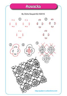Auwacka tangle pattern by Dorte Seupel-Kor Zentangle Drawings, Doodles Zentangles, Doodle Drawings, Doodle Art, Zen Doodle Patterns, Mandala Pattern, Zentangle Patterns, Doodle Borders, Mandala Design
