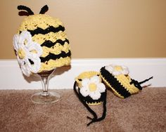 Crochet Bumble Bee beanie with matching baby by TracyplusCrochet, $20.00