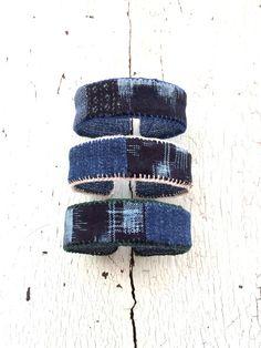 Indigo Kasuri Print Stackable Adustable Cuffs
