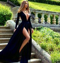 New Arrival Sexy prom dress,black prom dresses,Long Prom Dresses,slit Evening Dress,chiffon Formal Dresses Prom Dresses 2017, Black Prom Dresses, Formal Dresses For Weddings, Formal Dresses For Women, Prom Party Dresses, Pretty Dresses, Sexy Dresses, Beautiful Dresses, Evening Dresses
