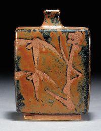 a shoji hamada stoneware bottle vase