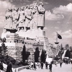 """Stalin Statue that once stood in Letna Park overlooking Prague. It was nicknamed """"The Queue"""" because it looked like the proletariat were standing in line behind him."""