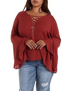 9683108c0d9 Plus Size Caged Bell Sleeve Top  Charlotte Russe