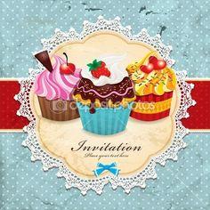 Quadro vintage com design de modelo de convite cupcake — Ilustração de Stock #14370399