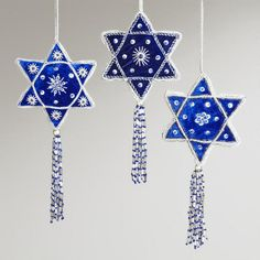 One of my favorite discoveries at WorldMarket.com: Star of David Ornaments, Set of 3