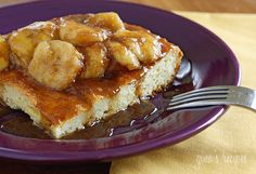 Bananas Fosters Topped Overnight French Toast - Dessert for breakfast? This make-ahead baked French toast casserole topped with Bananas Fosters will wow your mom on Mother's Day! 8 points+ on Weight Watchers #mothersday