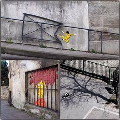 Работы французского уличного художника, известного как #oakoak, основаны на обостренном внимании к окружающему городскому ландшафту... #VISAvART #streetart #стритарт #помиру