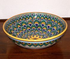 """DERUTA+ITALIAN+POTTERY+12""""+GREEN++PEACOCK+FEATHERS+ROUND+BOWL,+FREE+SHIPPING+"""