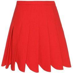 Miu Miu Pleated Wool Skirt ($1,305) ❤ liked on Polyvore featuring skirts, bottoms, red, miu miu, woolen skirt, knee length pleated skirt, pleated skirt and wool skirts