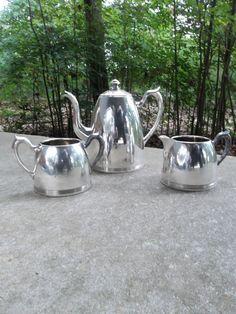 Vintage Pitchers Silver Tea Pot Silver Tea Service by misshettie, $29.00