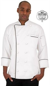Style # 453EC: WHITE: Uncommon Threads Versailles Traditional Fit Chef Coat - Knotted Cloth Buttons - 100% Egyptian Cotton