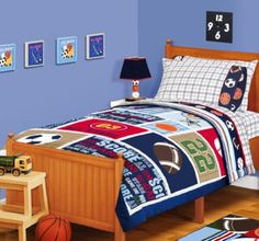 Sports Boys Baseball, Basketball, Football Twin Comforter, Sheets & Curtains Piece Bed In A Bag) Athletic-themed items are the center of attention in his Full Comforter Sets, Cheap Bedding Sets, Best Bedding Sets, Bedding Sets Online, Sports Quilts, Sports Bedding, Kids Sports Bedroom, Sheet Curtains, Bed In A Bag