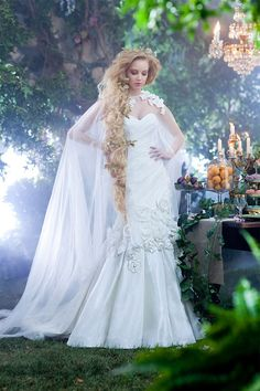 Visions of happily ever after come to life with the enchanting princess wedding dresses in Alfred Angelo's Disney Fairy Tale Bridal Collection. Rapunzel Wedding Dress, Tangled Wedding, Disney Inspired Wedding, Disney Wedding Dresses, Disney Dresses, Princess Wedding, Disney Weddings, Wedding Disney, Rapunzel Hair