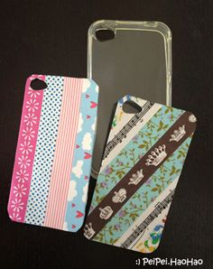Diy ipod iphone cases super easy 1 get a clear case 2 for Washi tape phone case