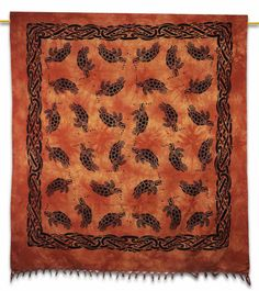 Beautiful Turtle Printed Cotton Tapestry or Bed Cover in Twin Size. ..this is img