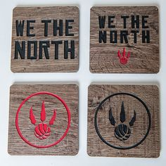 Raptors Coasters for the Man Cave.  Made from Vinyl Flooring using a CNC router and hand painted.