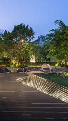Siam Paragon: Gourmet Garden Zone | LANDSCAPE COLLABORATION Architectural Lighting Design, Landscape Lighting Design, Landscape Architecture Design, Landscape Walls, Light Architecture, Water Lighting, Outdoor Lighting, Commercial Landscape Design, Gourmet Garden