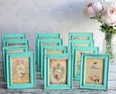 Table Numbers Vintage Inspired Wedding by braggingbags -- many colors to choose from on the frames.