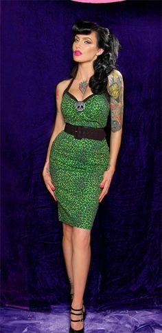 Rockabilly/Psychobilly style - green leopard wiggle dress